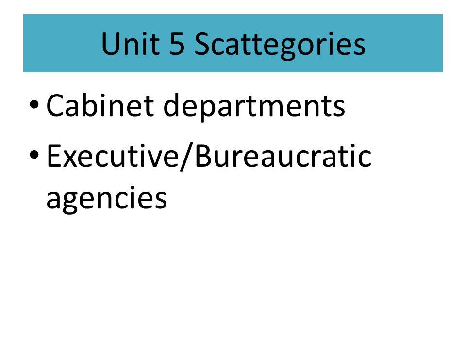 Unit 5 Scattegories Cabinet departments Executive/Bureaucratic agencies