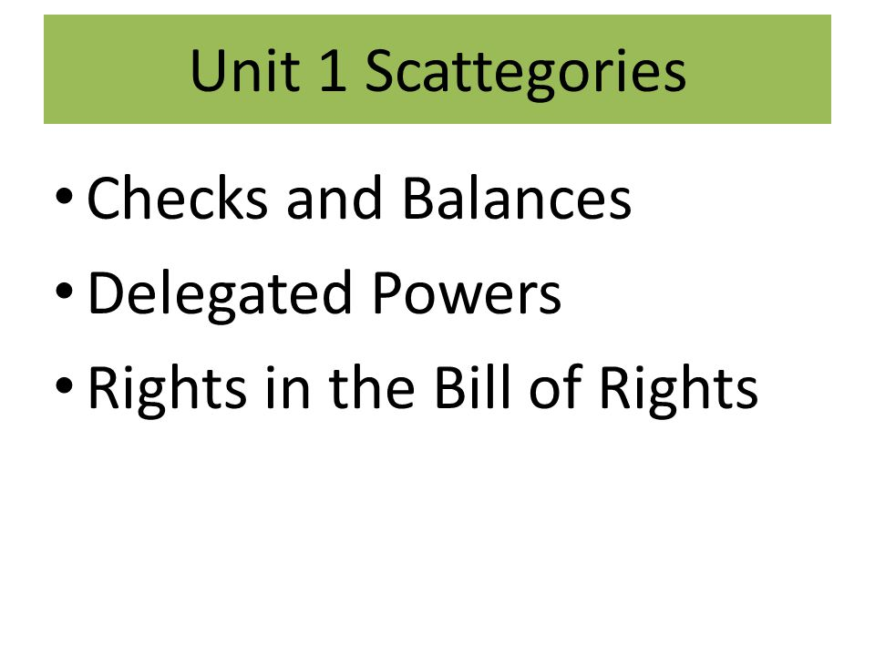 Unit 1 Scattegories Checks and Balances Delegated Powers Rights in the Bill of Rights