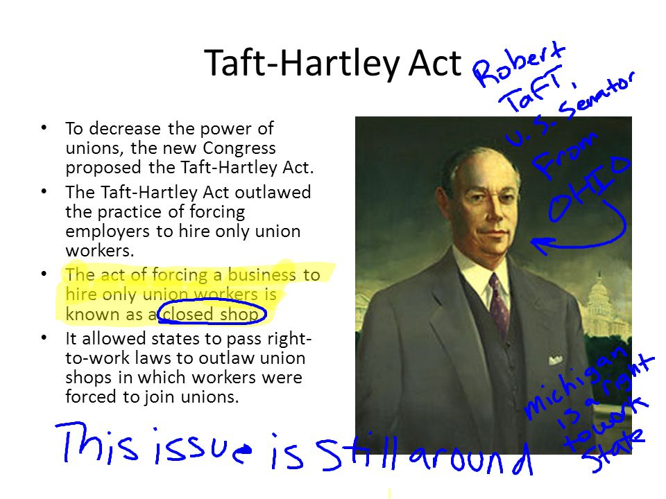 Taft-Hartley Act To decrease the power of unions, the new Congress proposed the Taft-Hartley Act.