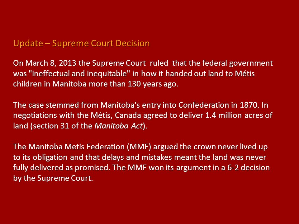 Update – Supreme Court Decision