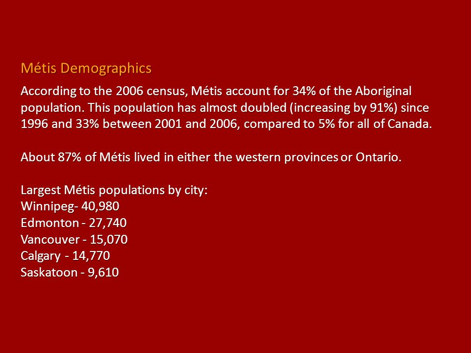 Métis Demographics
