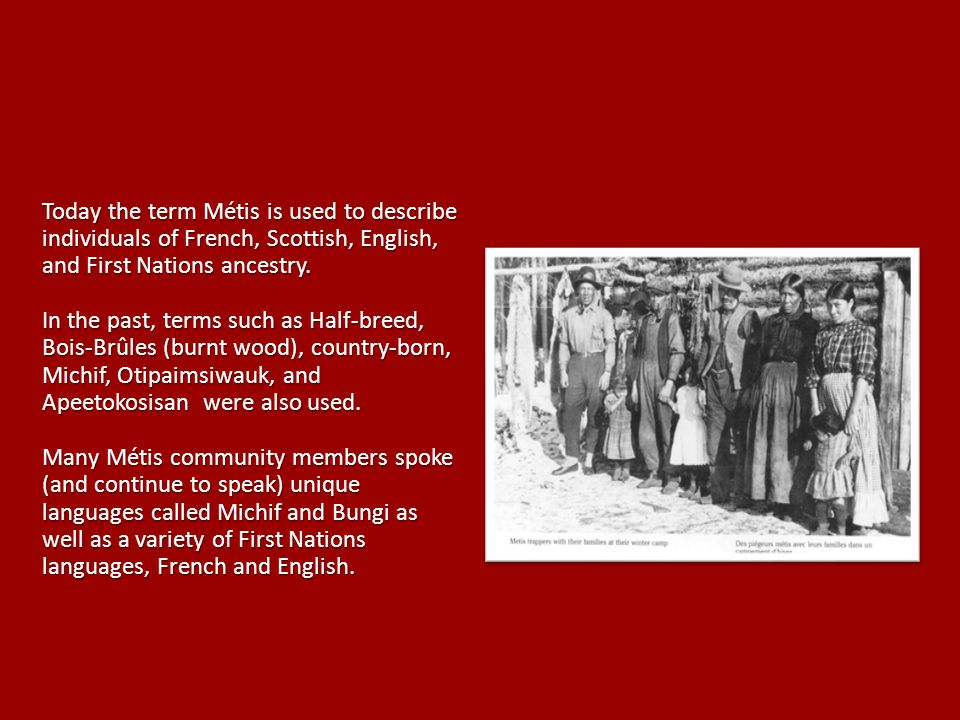 Today the term Métis is used to describe individuals of French, Scottish, English, and First Nations ancestry.