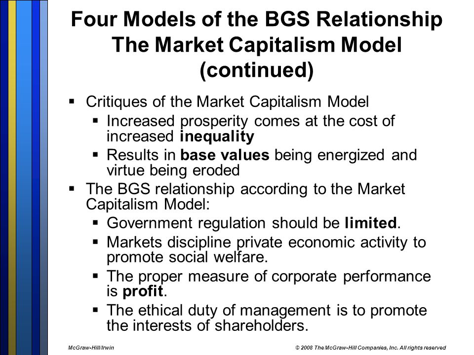 Four Models of the BGS Relationship The Market Capitalism Model (continued)