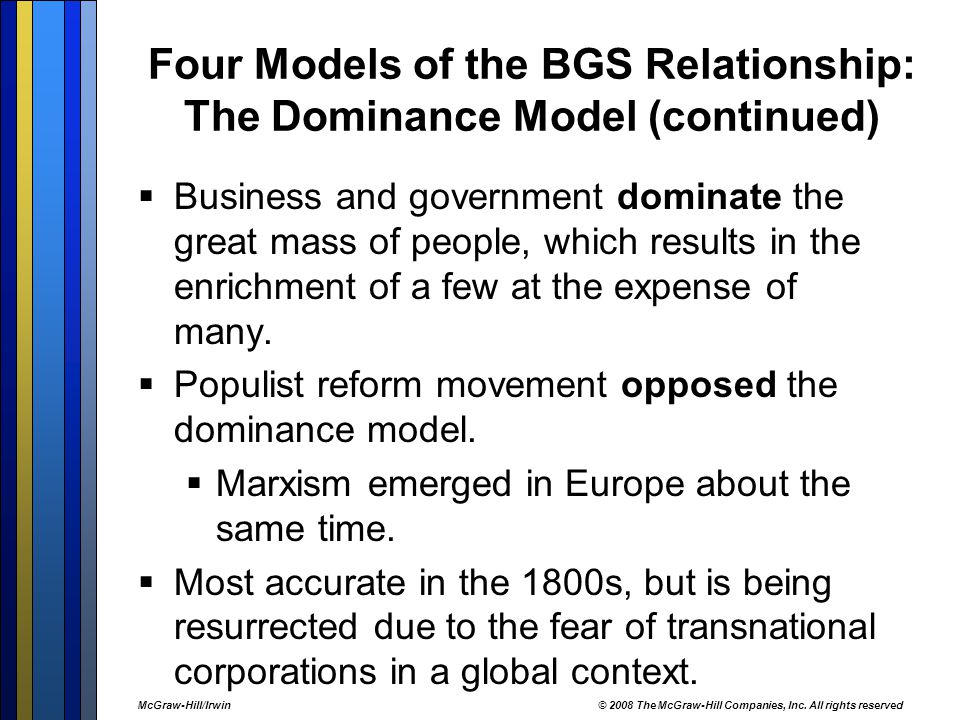 Four Models of the BGS Relationship: The Dominance Model (continued)