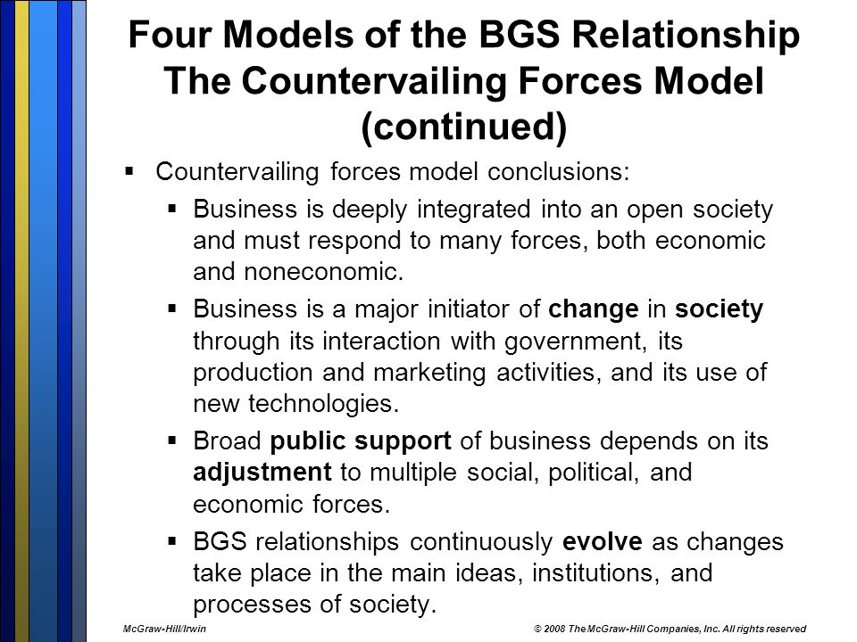 Four Models of the BGS Relationship The Countervailing Forces Model (continued)