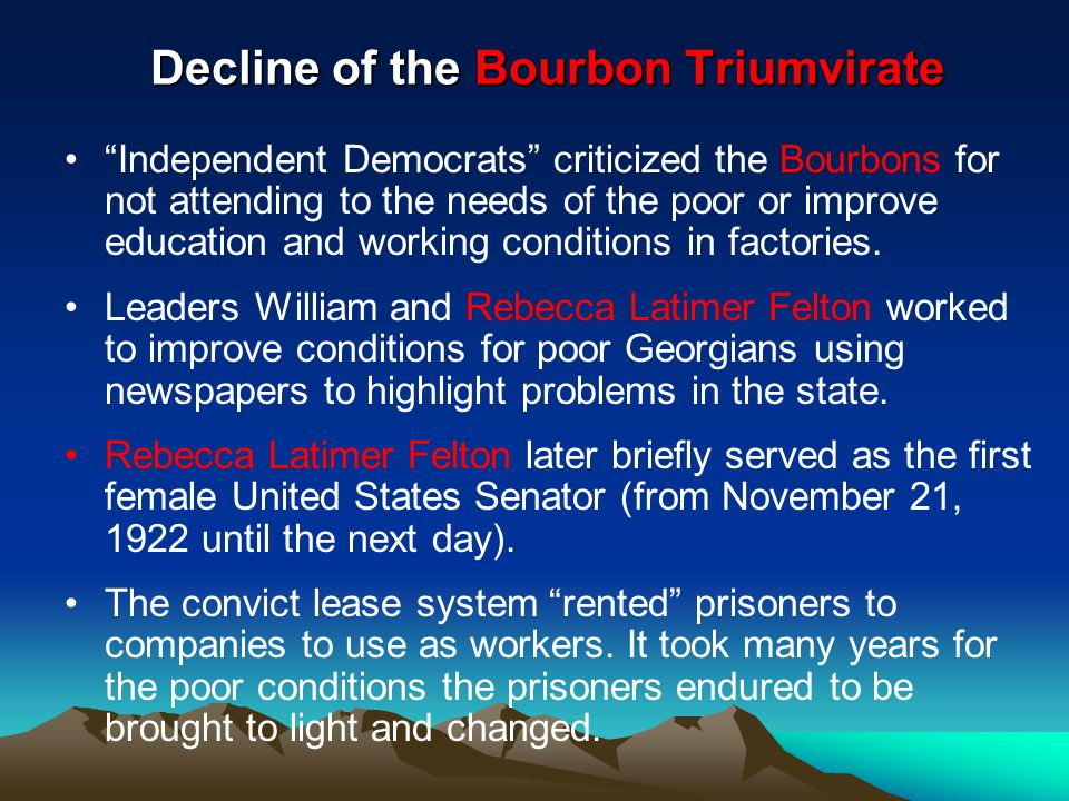 Decline of the Bourbon Triumvirate