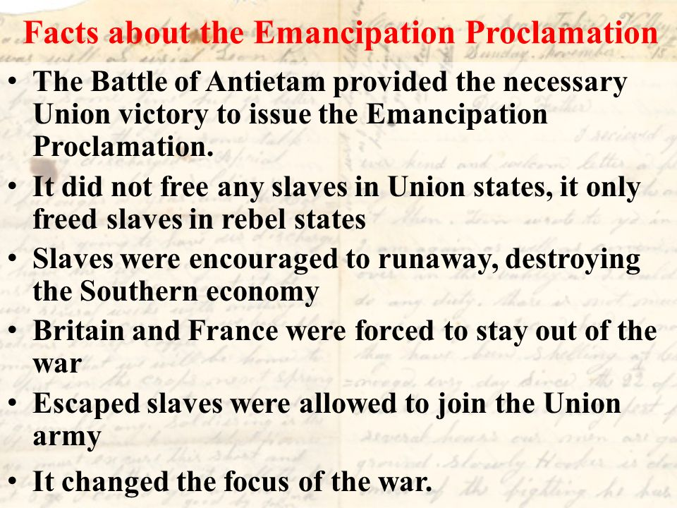Facts about the Emancipation Proclamation