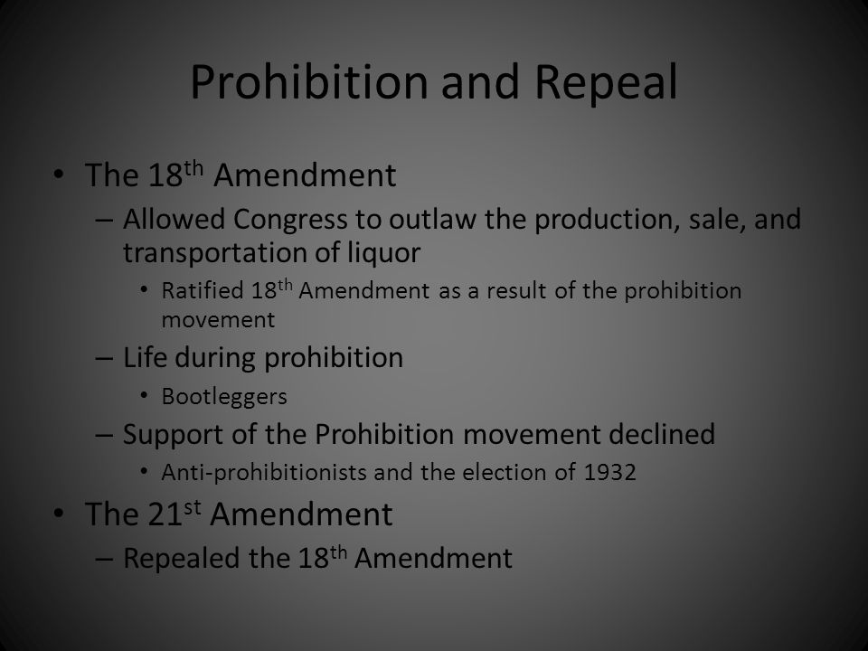 Prohibition and Repeal