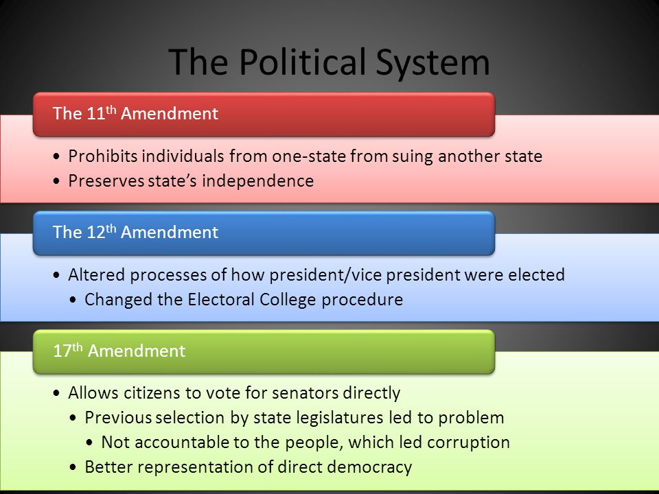 The Political System The 11th Amendment. Prohibits individuals from one-state from suing another state.