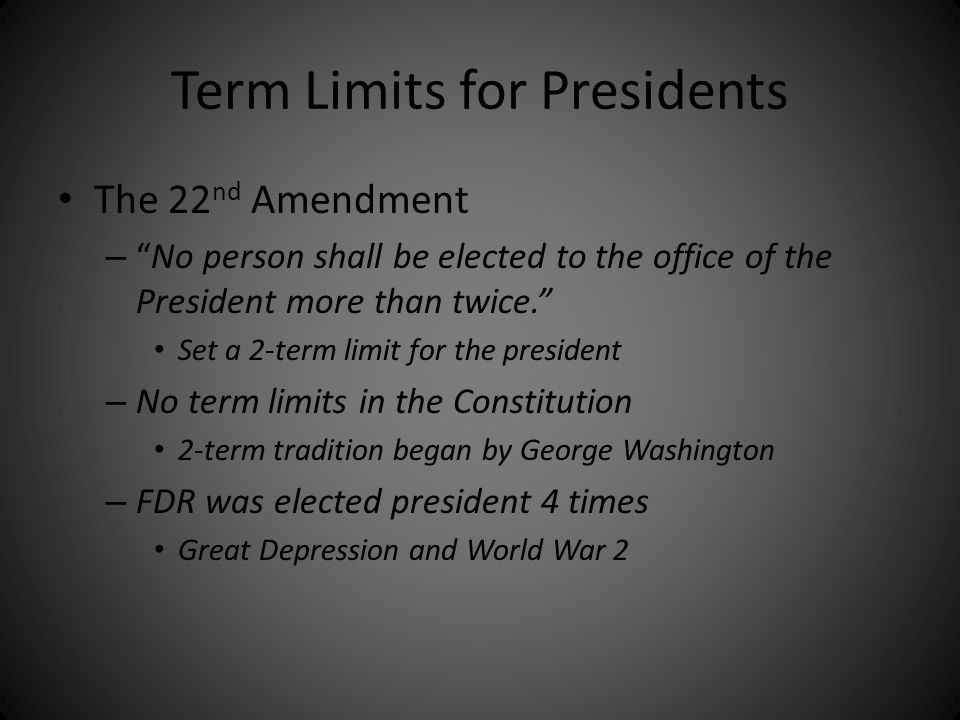 Term Limits for Presidents