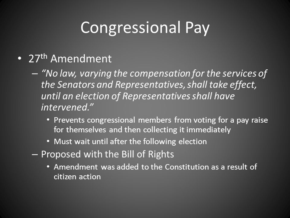 Congressional Pay 27th Amendment