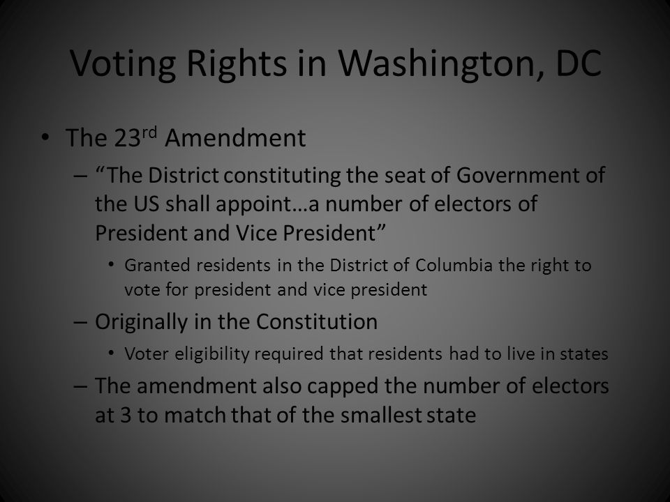 Voting Rights in Washington, DC
