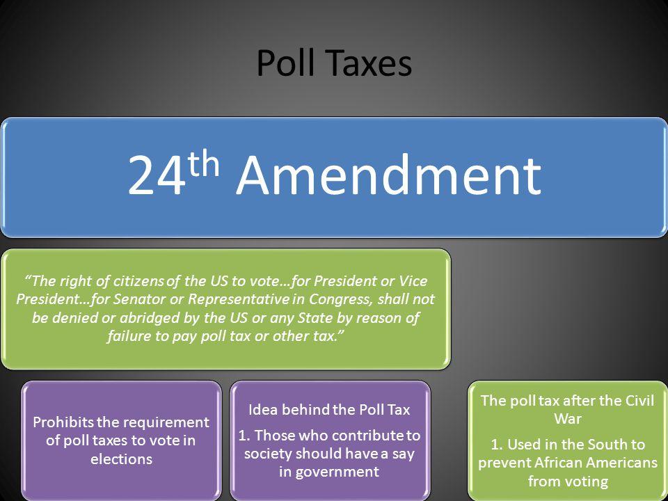 Poll Taxes 24th Amendment