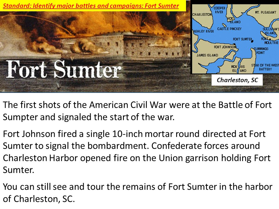 Standard: Identify major battles and campaigns: Fort Sumter