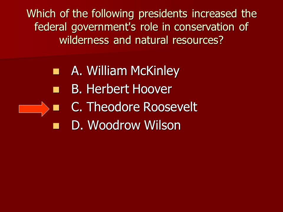 A. William McKinley B. Herbert Hoover C. Theodore Roosevelt