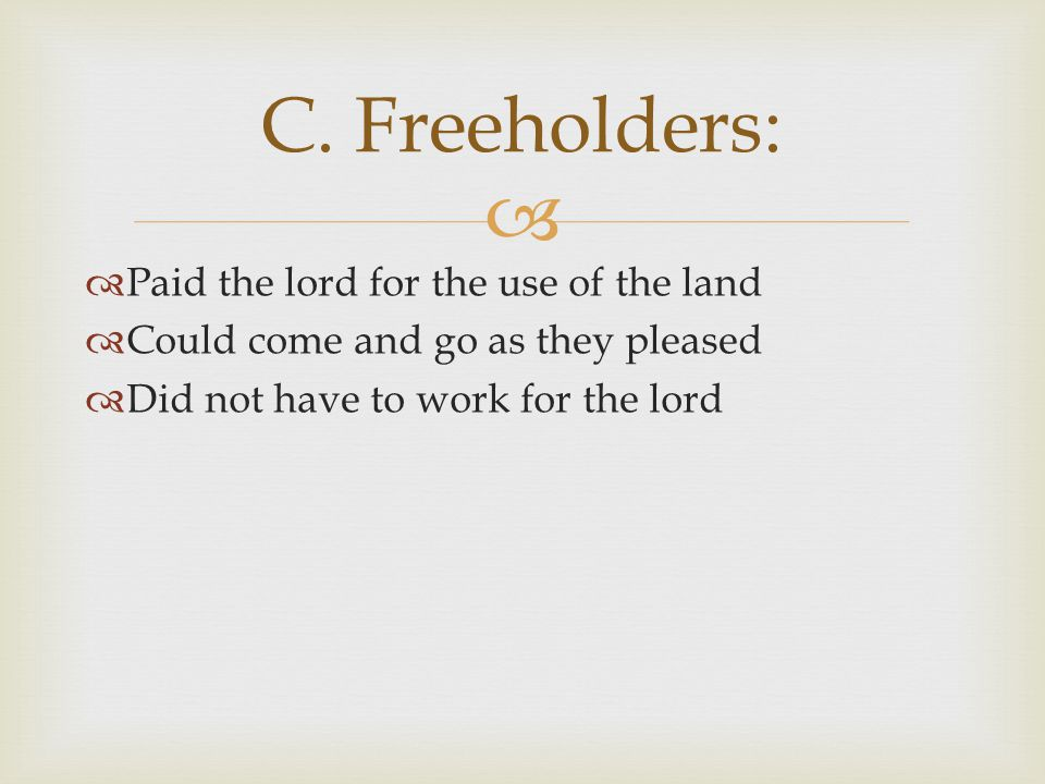 C. Freeholders: Paid the lord for the use of the land