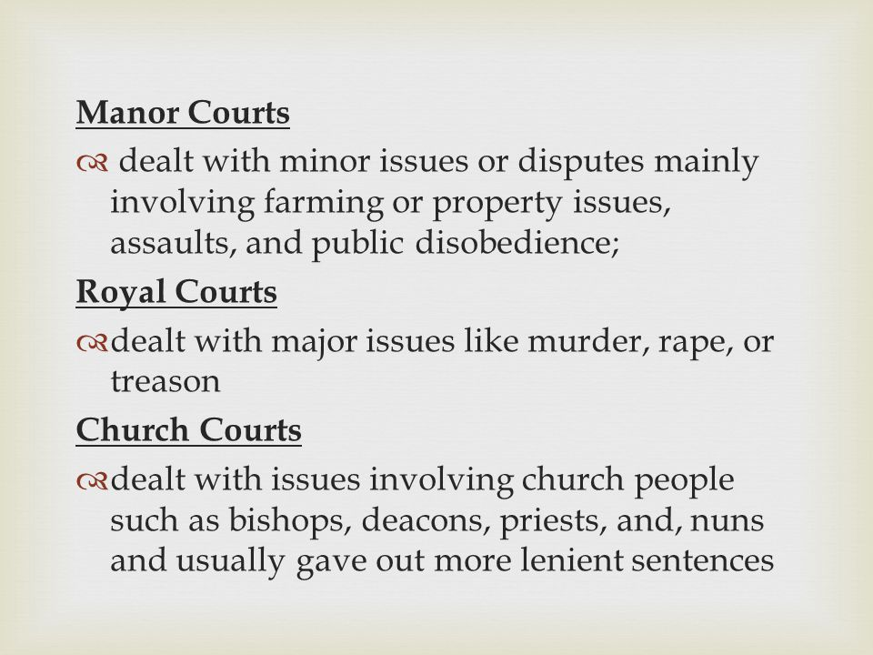 Manor Courts dealt with minor issues or disputes mainly involving farming or property issues, assaults, and public disobedience;