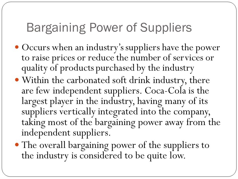 bargaining power of supplier The five forces are (1) threat of new entrants, (2) threat of substitute products or  services, (3) bargaining power of buyers, (4) bargaining power of suppliers,.