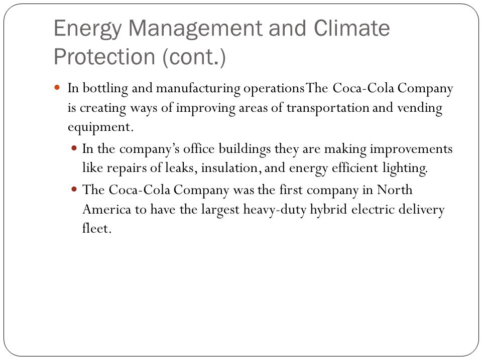 Energy Management and Climate Protection (cont.)