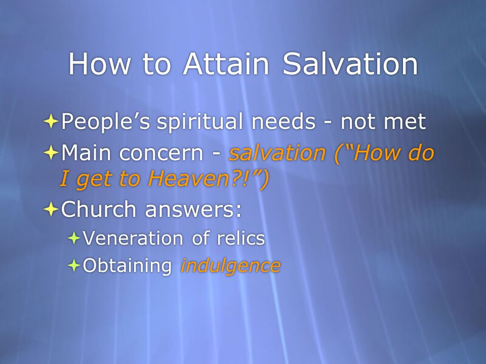 How to Attain Salvation