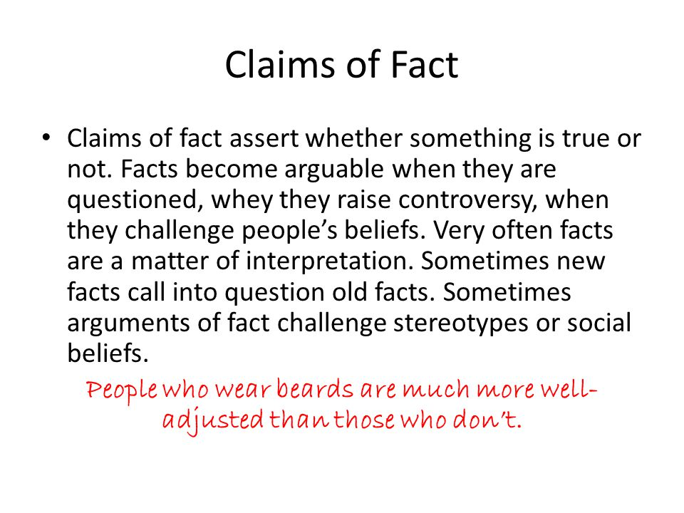 Claims of Fact