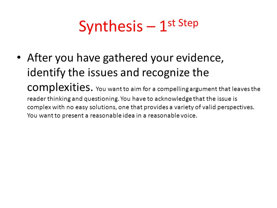 Synthesis – 1st Step