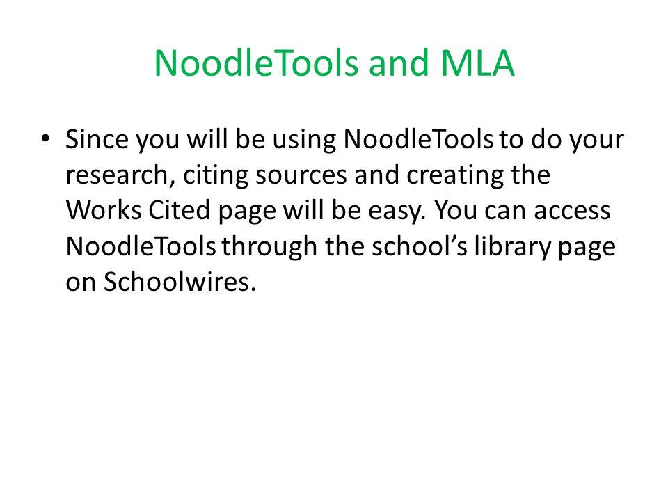 NoodleTools and MLA