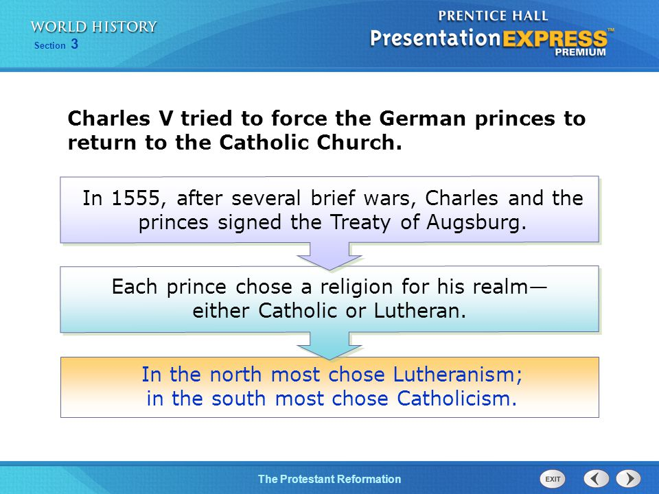 Charles V tried to force the German princes to return to the Catholic Church.