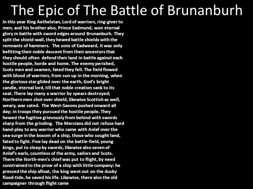 The Epic of The Battle of Brunanburh