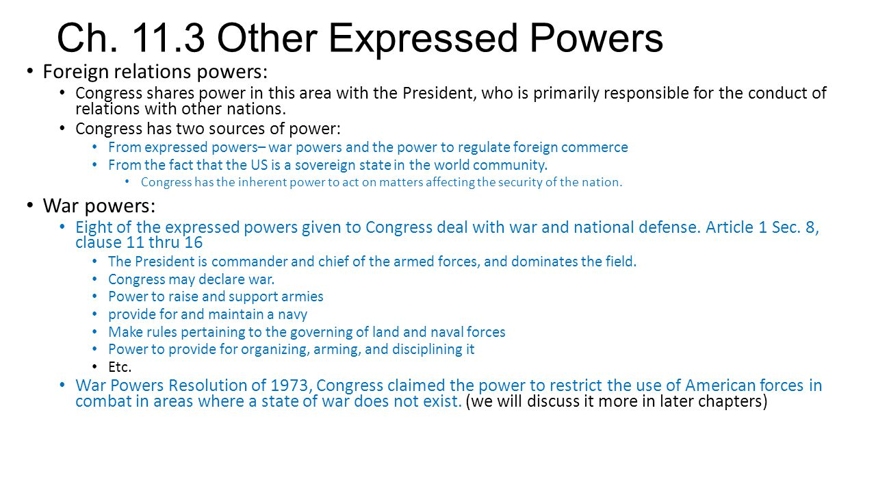 Ch. 11.3 Other Expressed Powers