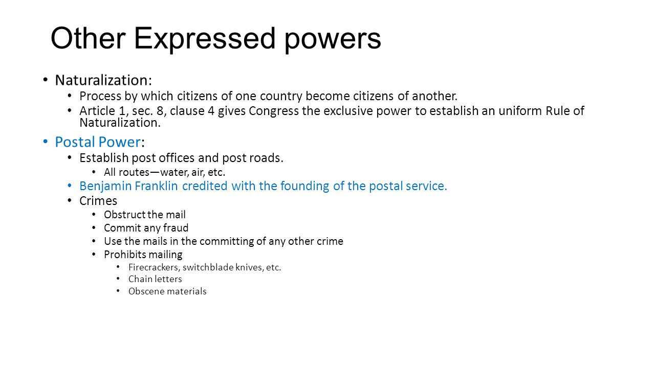 Other Expressed powers