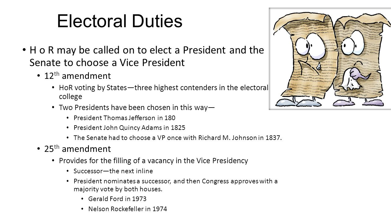 Electoral Duties H o R may be called on to elect a President and the Senate to choose a Vice President.