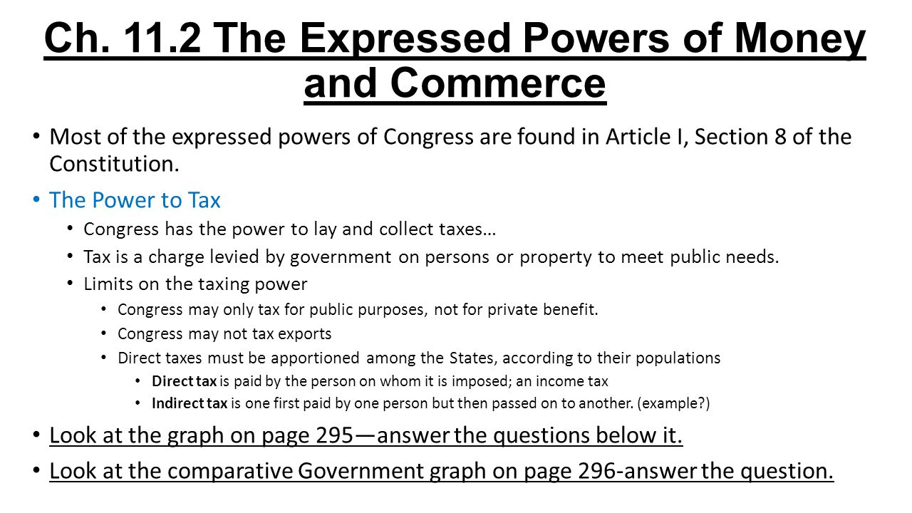 Ch. 11.2 The Expressed Powers of Money and Commerce