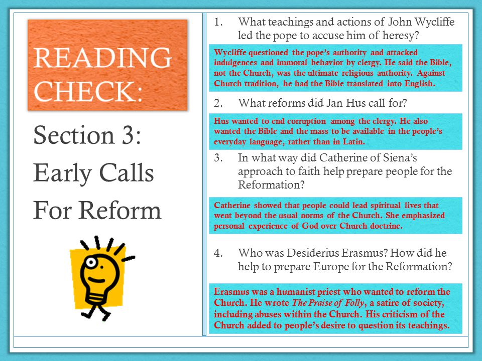 READING CHECK: Section 3: Early Calls For Reform