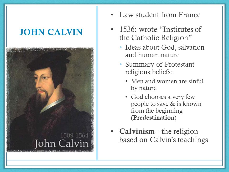JOHN CALVIN Law student from France
