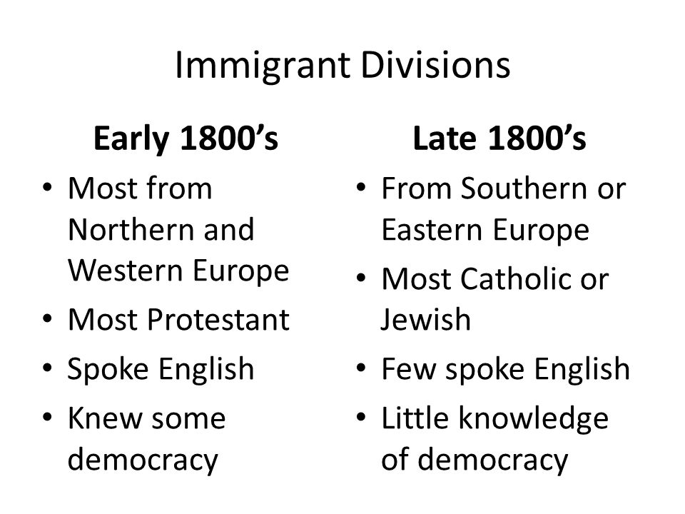 Immigrant Divisions Early 1800's Late 1800's