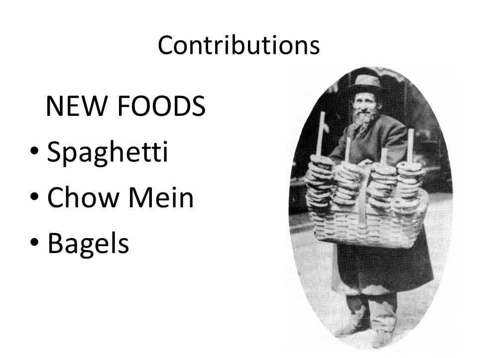 Contributions NEW FOODS Spaghetti Chow Mein Bagels