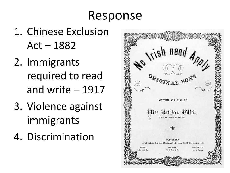 Response Chinese Exclusion Act – 1882