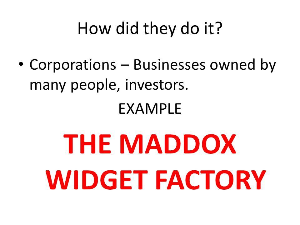THE MADDOX WIDGET FACTORY