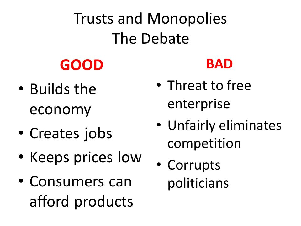 Trusts and Monopolies The Debate