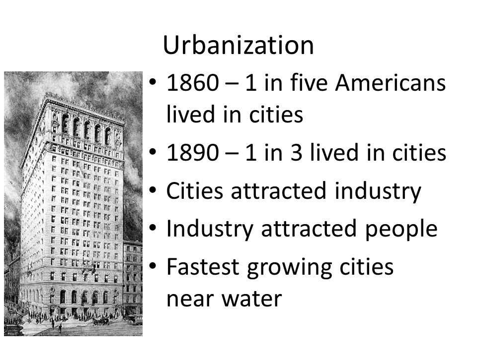 Urbanization 1860 – 1 in five Americans lived in cities