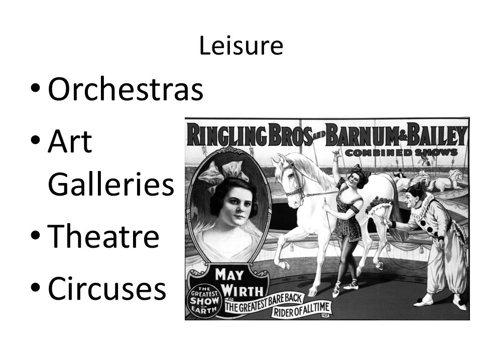 Leisure Orchestras Art Galleries Theatre Circuses