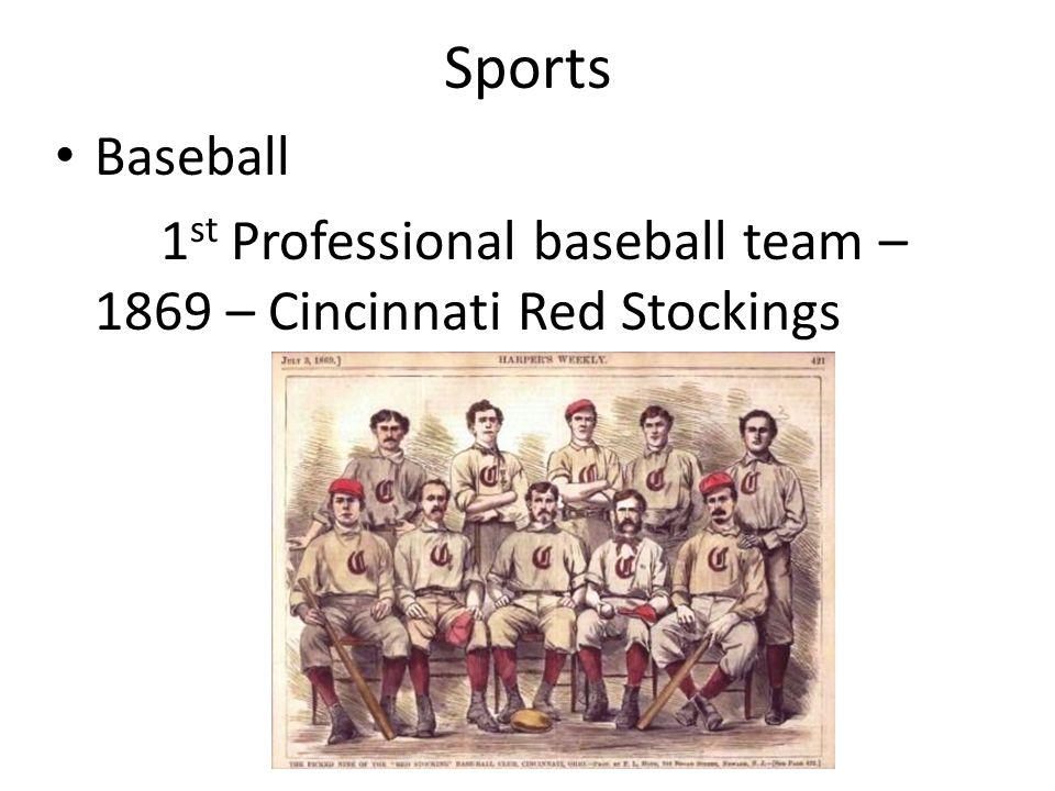 Sports Baseball 1st Professional baseball team – 1869 – Cincinnati Red Stockings