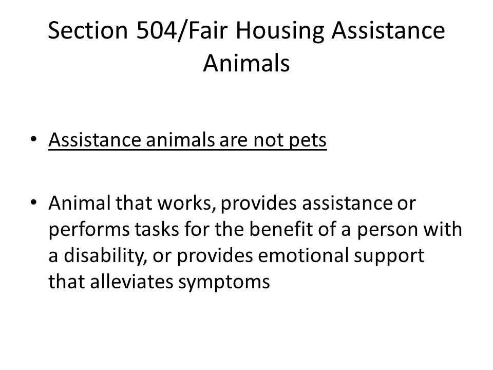 Section 504/Fair Housing Assistance Animals