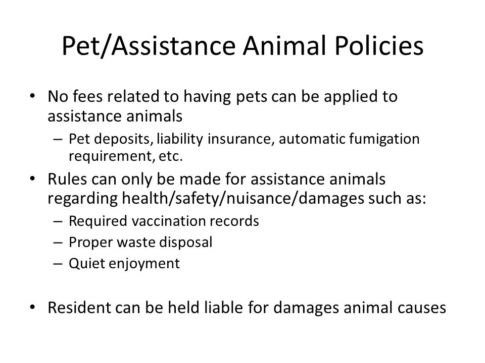 Pet/Assistance Animal Policies
