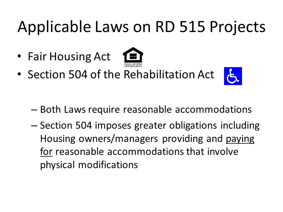 Applicable Laws on RD 515 Projects