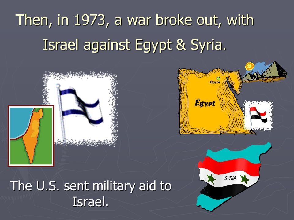 Then, in 1973, a war broke out, with Israel against Egypt & Syria.