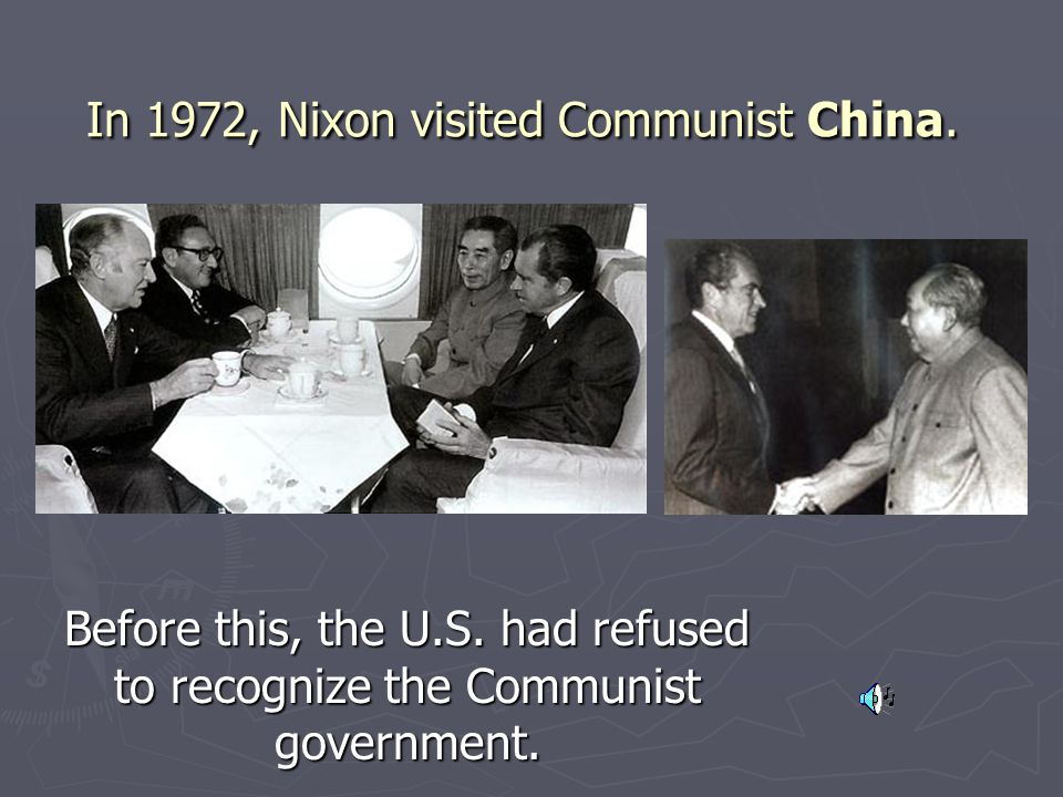 In 1972, Nixon visited Communist China.