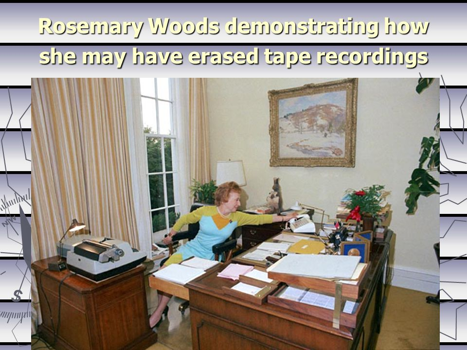 Rosemary Woods demonstrating how she may have erased tape recordings
