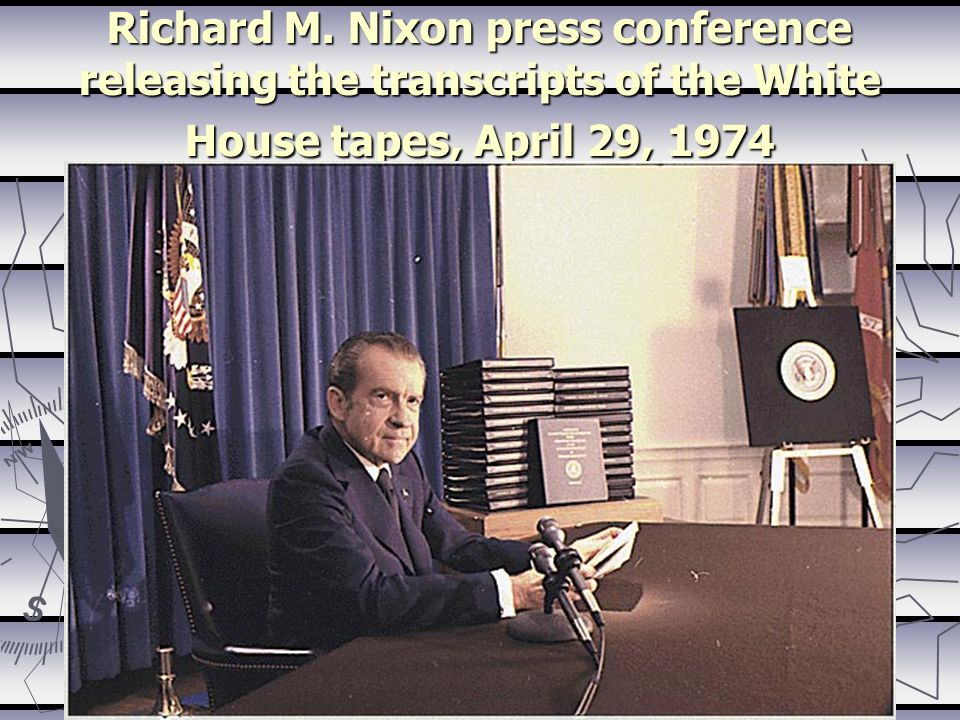 Richard M. Nixon press conference releasing the transcripts of the White House tapes, April 29, 1974